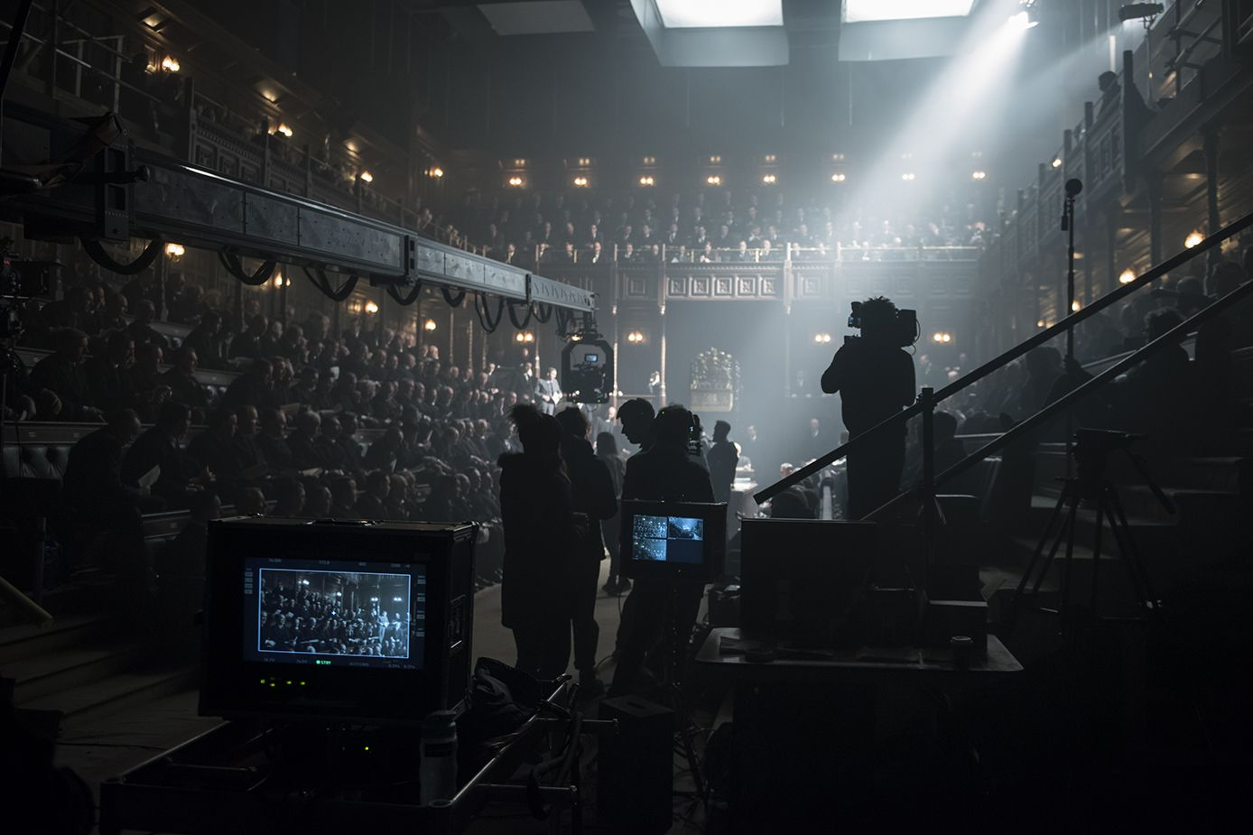 "Cast and crew filming on the set of director Joe Wright's ""Darkest Hour,"" a Focus Features release."