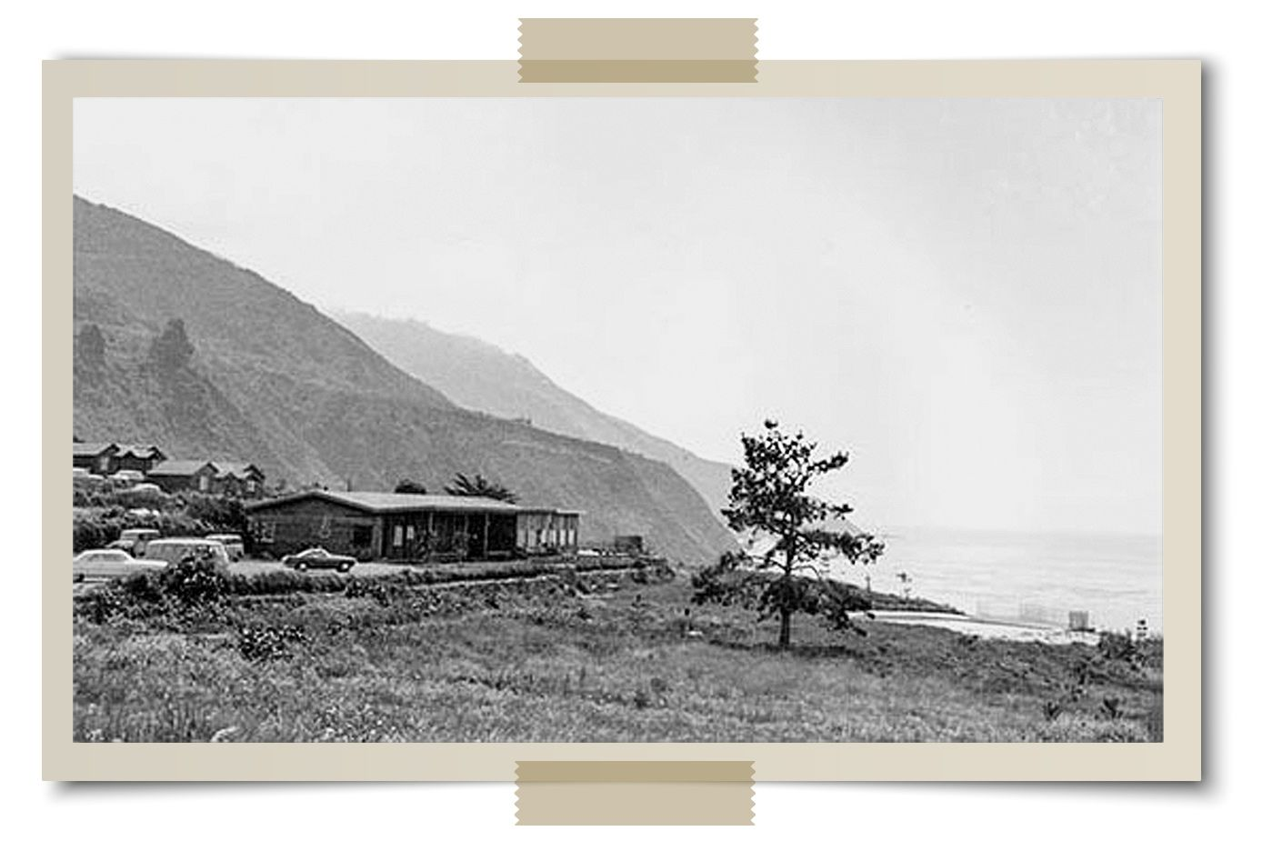 The lodge at Slates Hot Springs in Big Sur in the early 1960s. Thompson's abortive stint as caretaker there led to the founding of the Esalen Institute.