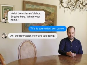 James Vlahos exchanges texts with the Dadbot he created to simulate his late father, in a screen grab from a video produced by Wired magazine. The video, which is available on YouTube, can be seen here: altaonline.com/dadbot