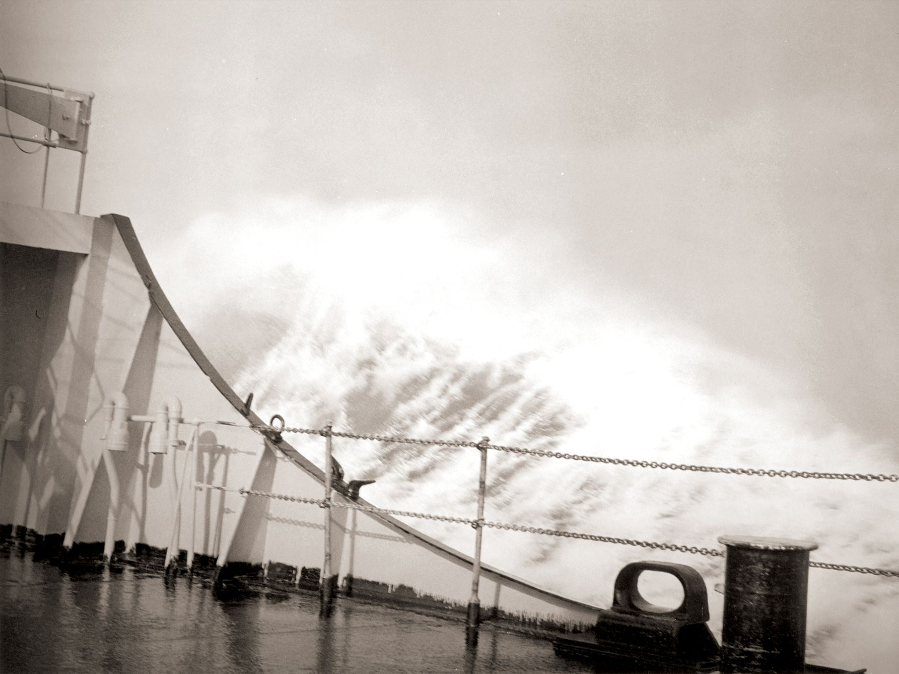 The storm lashes the deck of the S.S. Marine Flier, a former World War II freighter, as it carries the horses to the U.S.