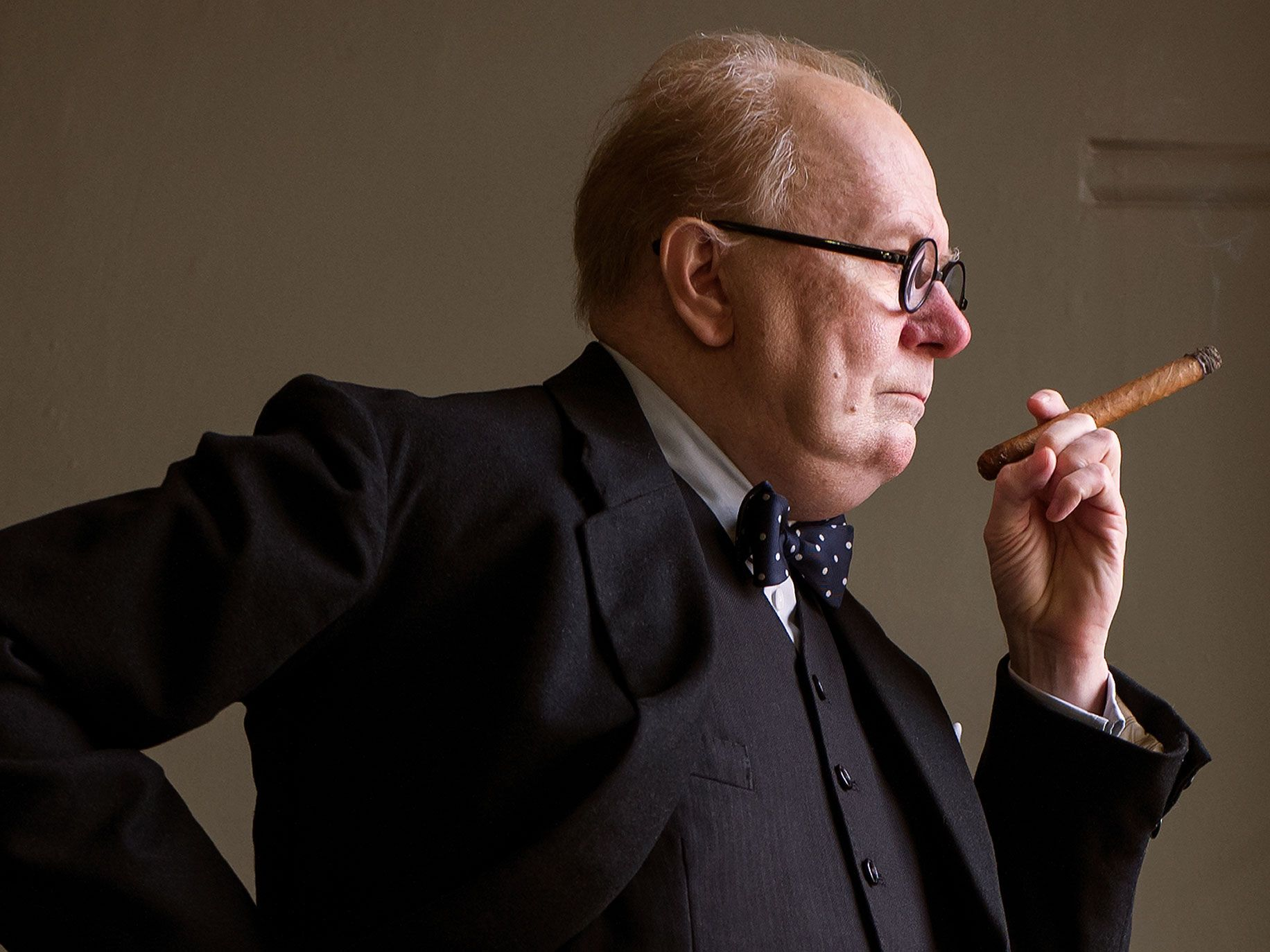 "Gary Oldman stars as Winston Churchill in director Joe Wright's ""Darkest Hour,"" a Focus Features release."