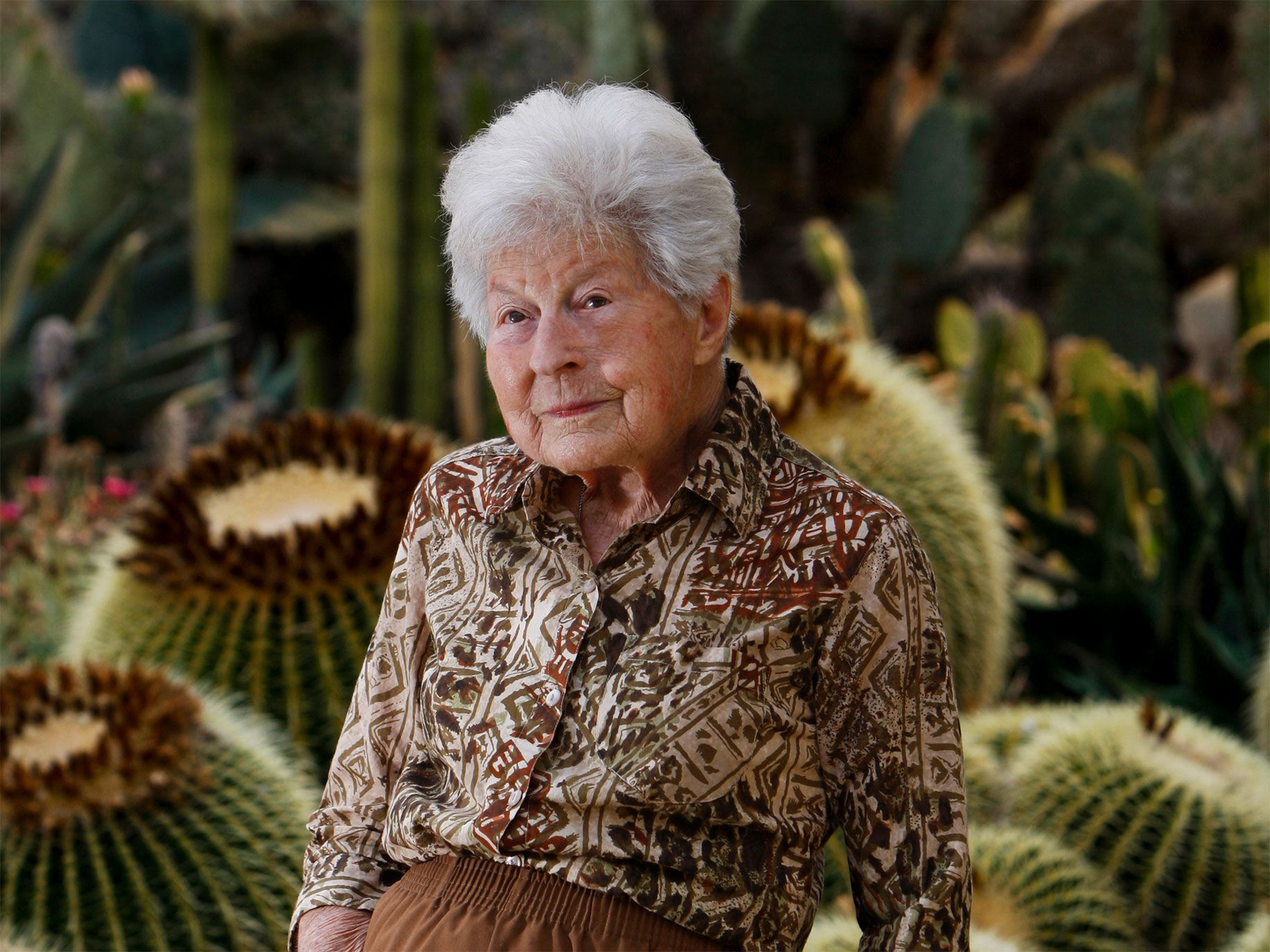 Ruth Bancroft, just before her 100th birthday, in her cactus and succulent garden in Walnut Creek.