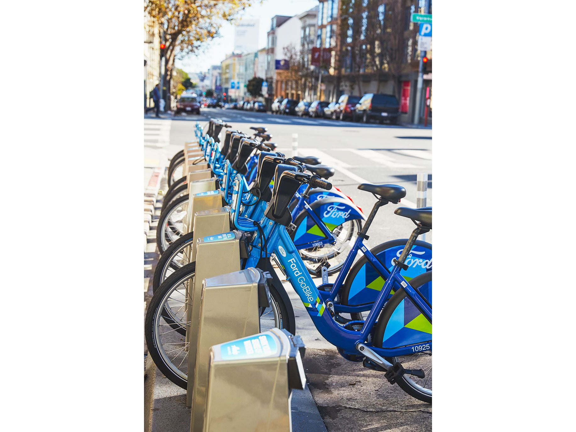 A rack of Ford GoBikes on Valencia Street in San Francisco.