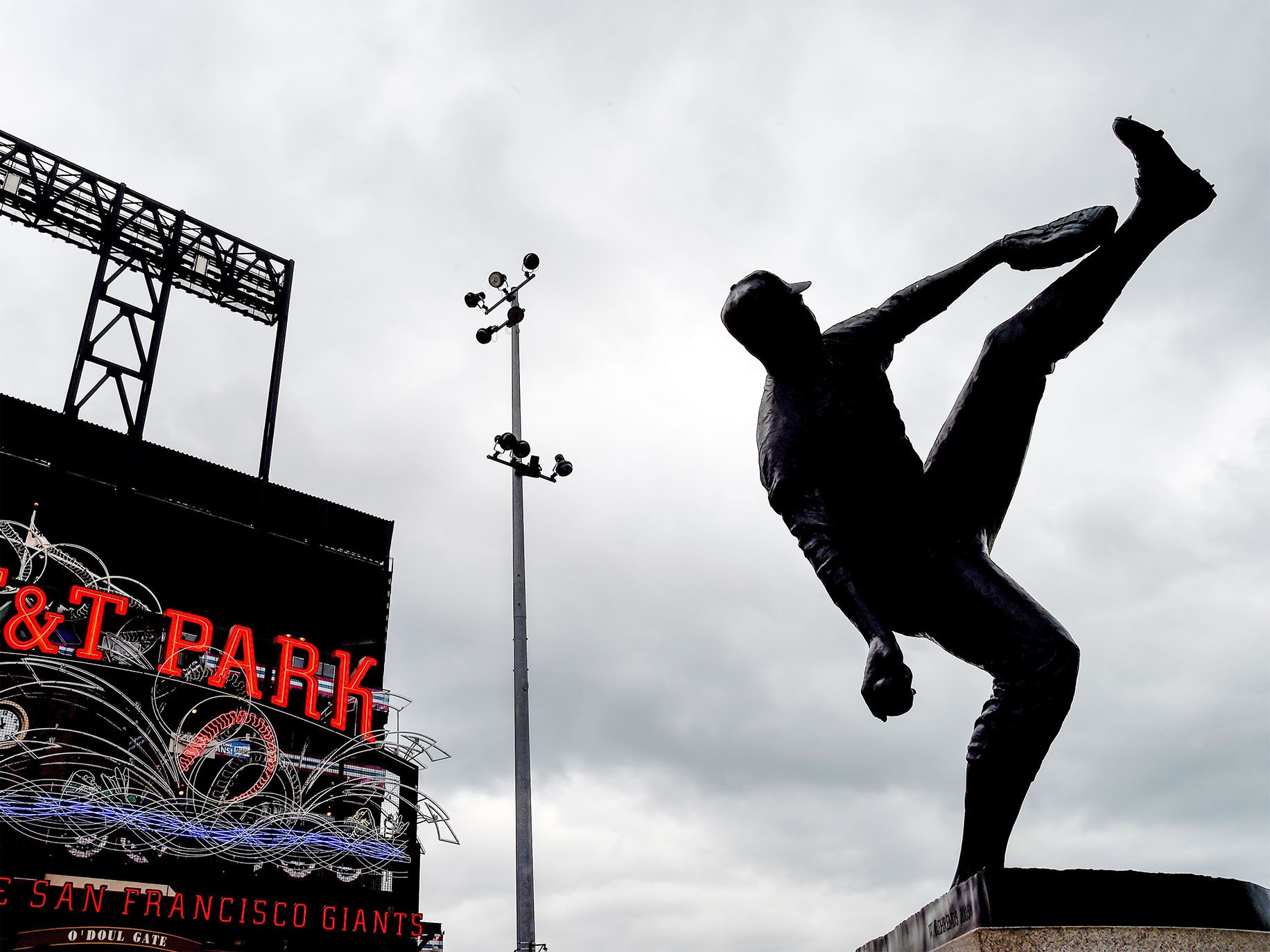 Juan Marichal's high-leg-kick pitching windup is captured in a statue outside AT&T Park in San Francisco.
