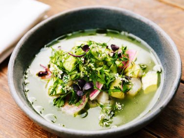 Aguachile with Hokkaido scallop, cucumber, citrus and serrano pepper