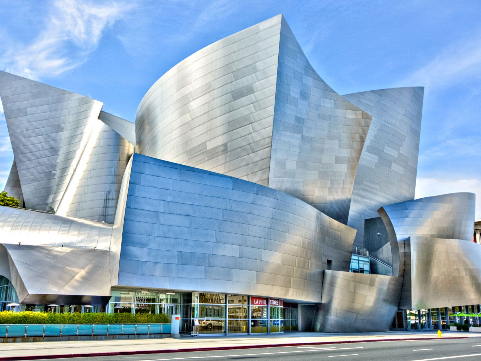 The swooping stainless steel forms of the Walt Disney Concert Hall in downtown Los Angeles.