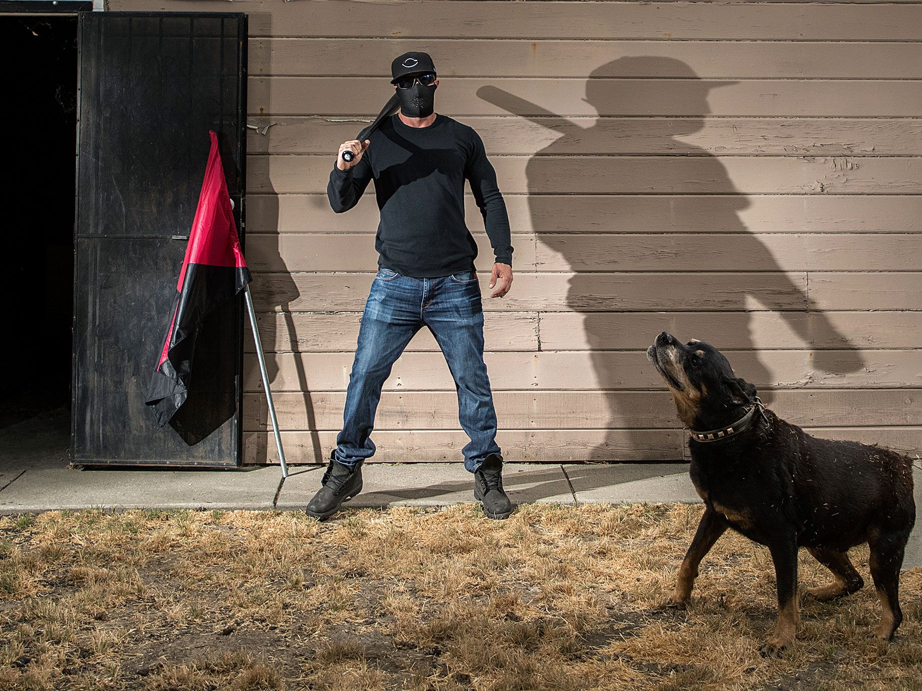 """""""Dominic,"""" a member of the Bay Area antifa, says he's been """"fighting Nazis"""" for 20 years."""