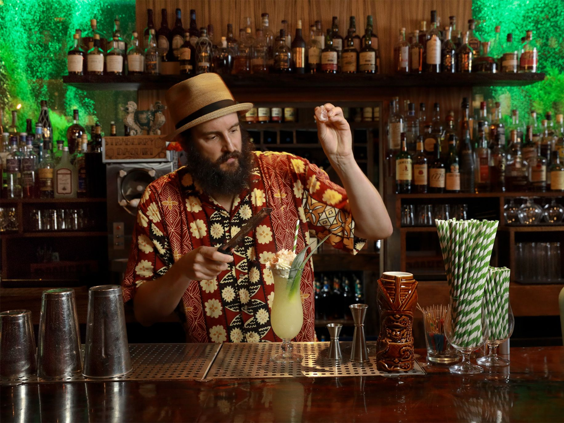 Daniel Parks mixes a bird of paradise cocktail at Pagan Idol in San Francisco, one of the new wave of tiki bars.