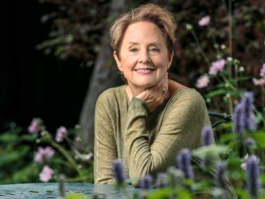 Alice Waters in her backyard garden in Berkeley.
