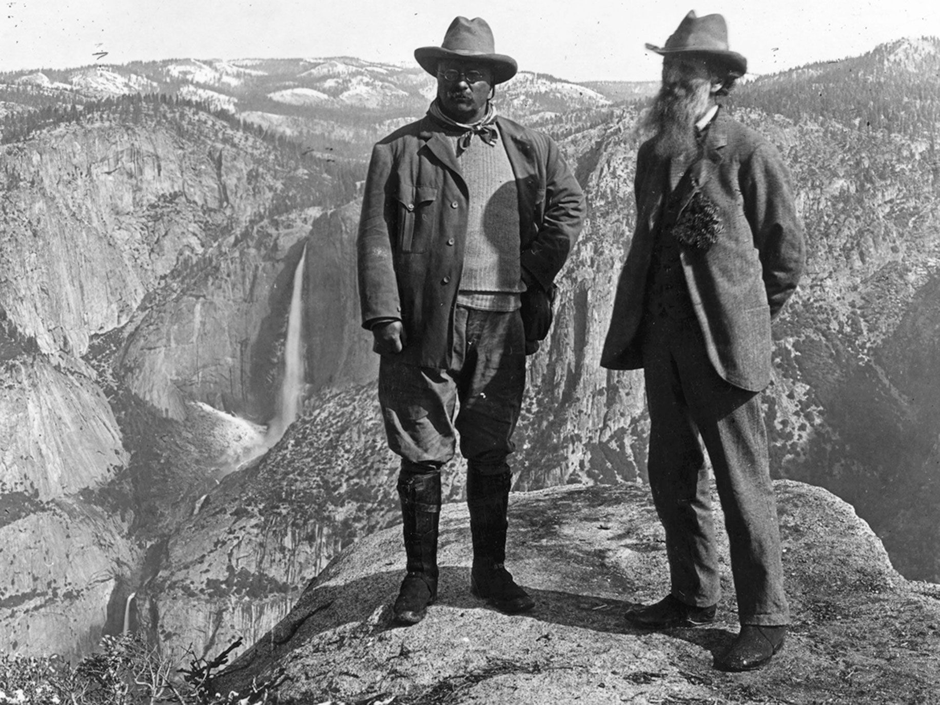 Conservationist John Muir's camping trip to Yosemite Valley with President Theodore Roosevelt in May 1903 led to Yosemite being designated as a National Park.