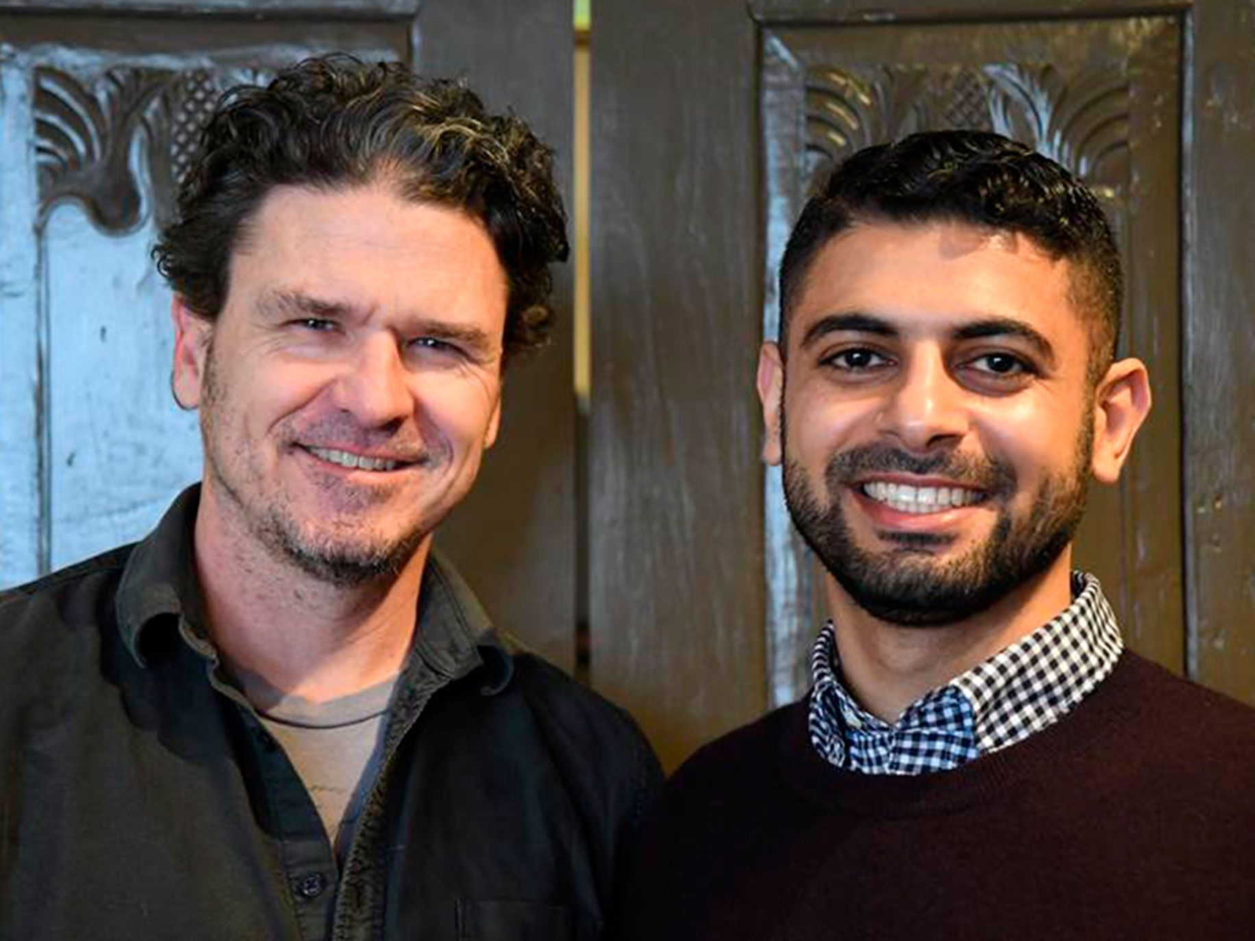 Dave Eggers, left, and Mokhtar Alkhanshali.