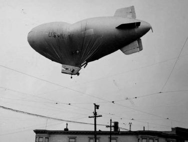 Minus its crew, U.S. Navy blimp L-8 floats over Daly City, Calif., on Aug, 16, 1942, several hours after taking off from Treasure Island on a sub-hunting mission.