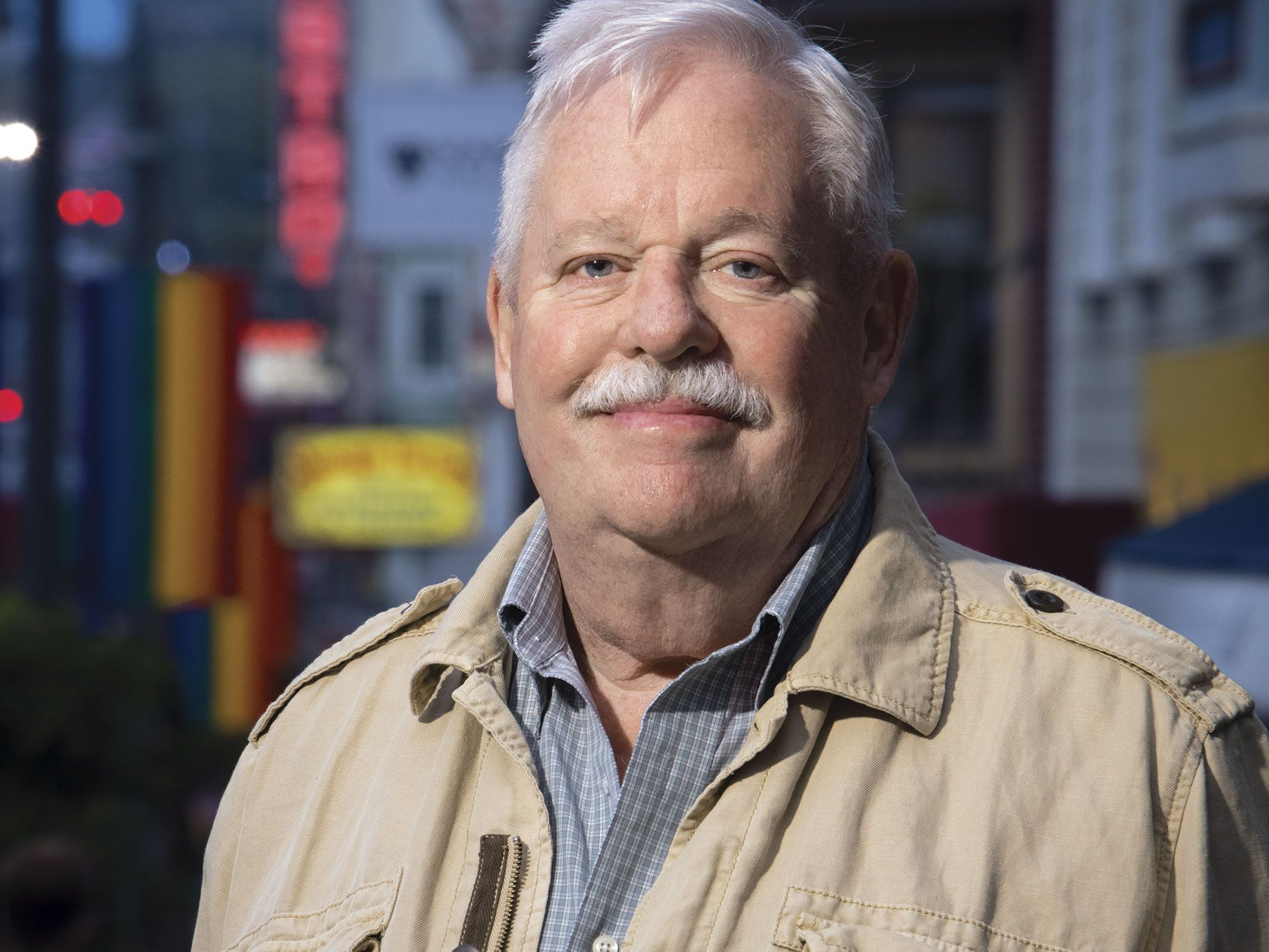 Armistead Maupin on Castro Street in San Francisco, one of the neighborhoods he's chronicled for nearly four decades.
