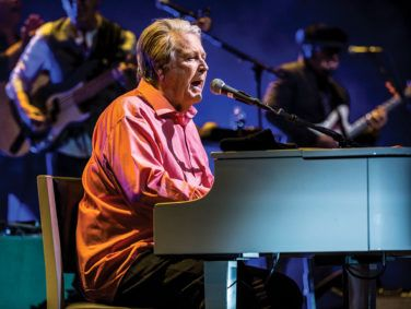 The man who wasn't really there: former Beach Boy Brian Wilson performing at the Pantages Theatre in Hollywood in May.