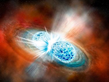 An artist's rendering of the merger of two neutron stars from Aug. 17.