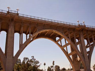 The historic Colorado Street Bridge in Pasadena also called Suicide Bridge.