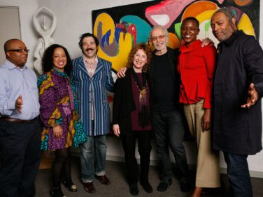 Left to right: Robert O'Hara, Courtney Bryan, Michael Rakowitz, Lani Hall Alpert, Herb Alpert, Okwui Okpokwasili and Arthur Jafa