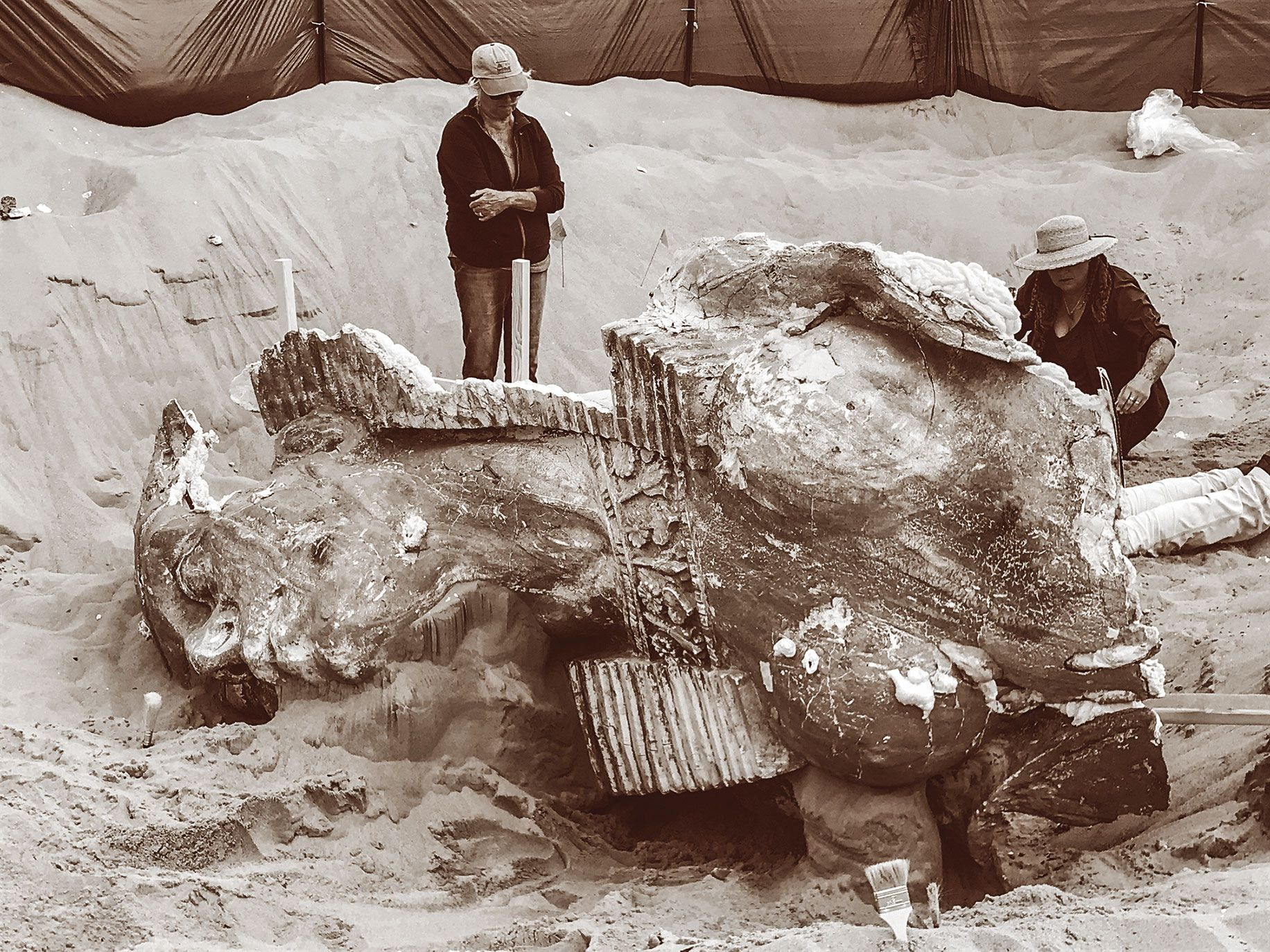 "Volunteers excavated a 300-pound plaster sphinx last November from the sands of the Guadalupe-Nipomo Dunes ­— an artifact of a sprawling movie set built in 1923 for Cecil B. DeMille's ""The Ten Commandments."""