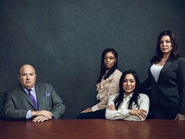 Attorney John Manly is bringing sexual abuse cases against sports physician Larry Nassar on behalf of more than 300 female athletes, including (left to right) former Michigan State softball player Tiffany Thomas Lopez and USA Gymnastics team members Jeanette Antolin and Jamie Dantzscher.