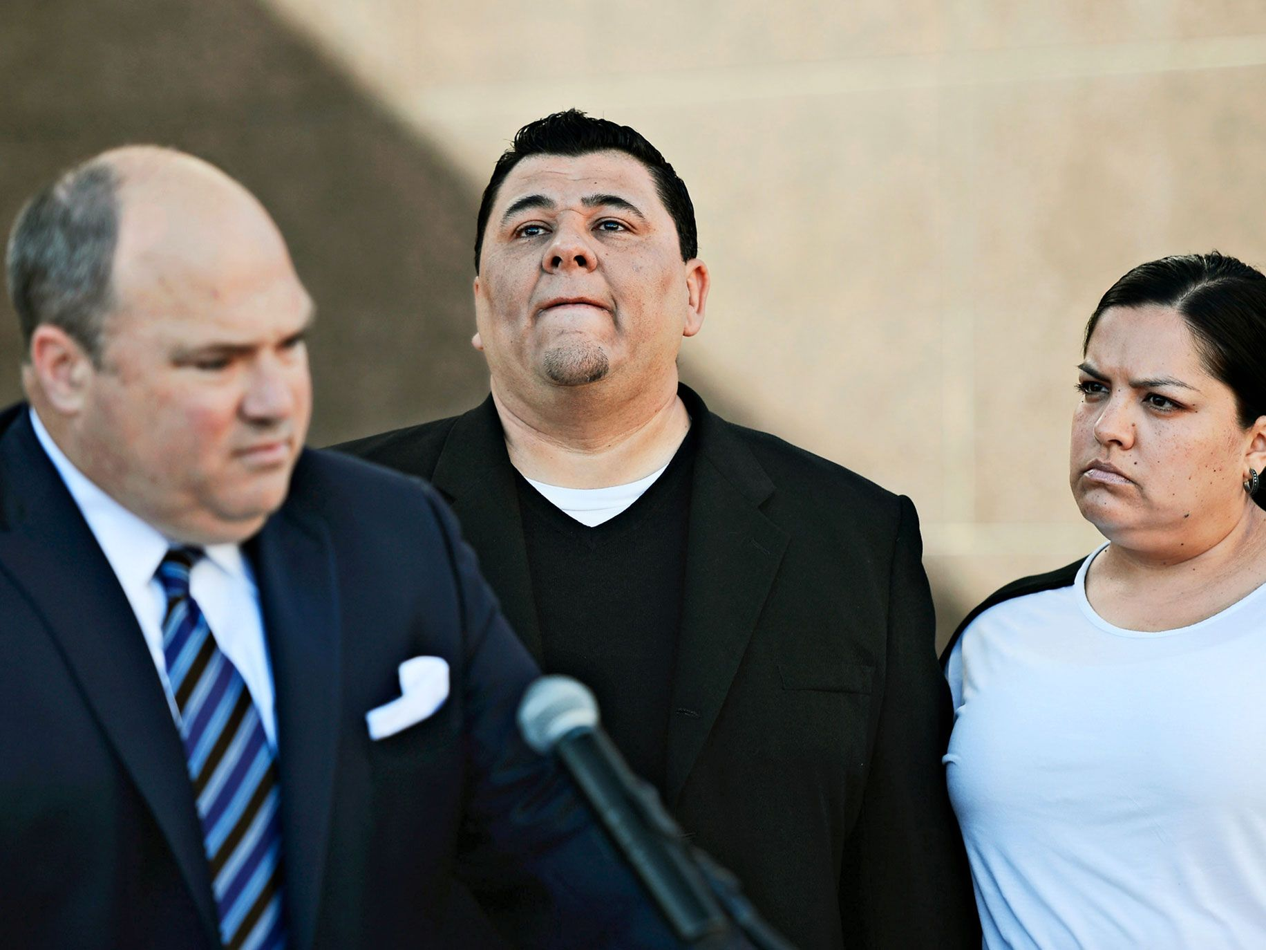 John Manly won nearly $1 million for Michael Duran (center) in a sex abuse settlement with the Roman Catholic Archdiocese of Los Angeles in 2013. Duran was one of four men who reached a nearly $10 million settlement against the Los Angeles Archdiocese, Cardinal Roger Mahony and ex-priest Michael Baker.
