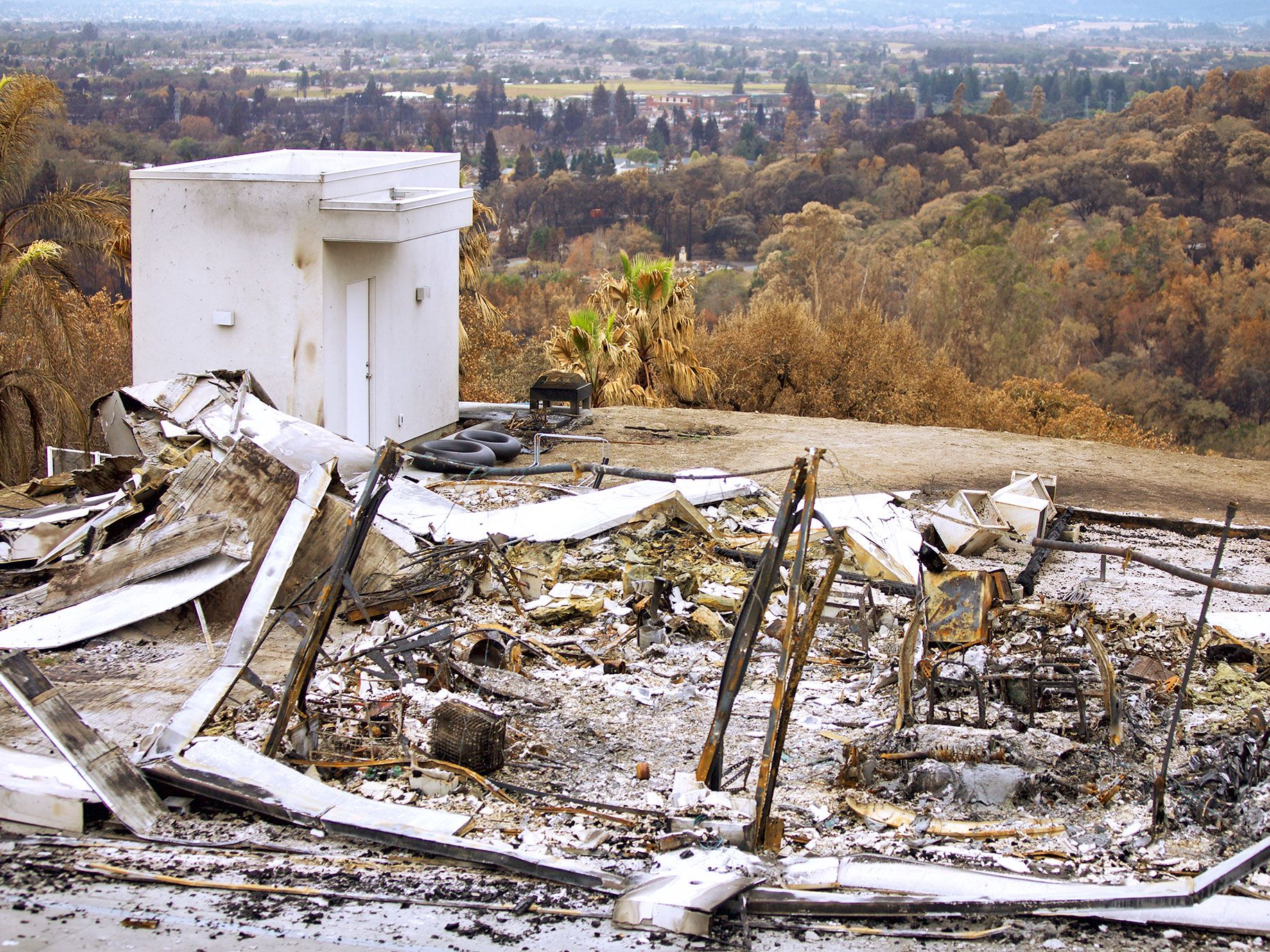 The wreckage of Lars and Ulla Tandrup's dream home near Santa Rosa, a month after it was destroyed in the Tubbs Fire.