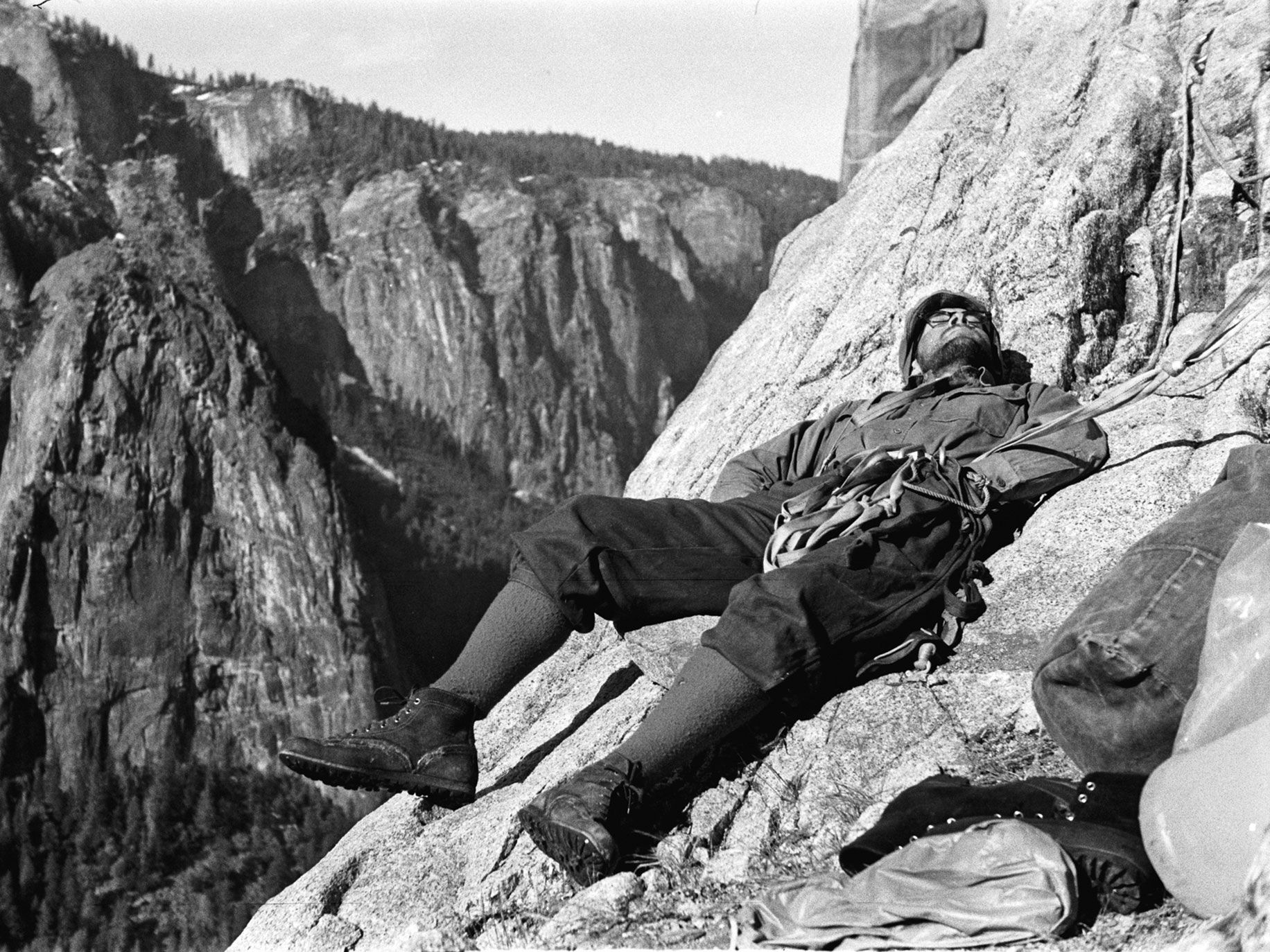 Yosemite climbing pioneer Royal Robbins takes a well-earned nap during a 1964 ascent of El Capitan.