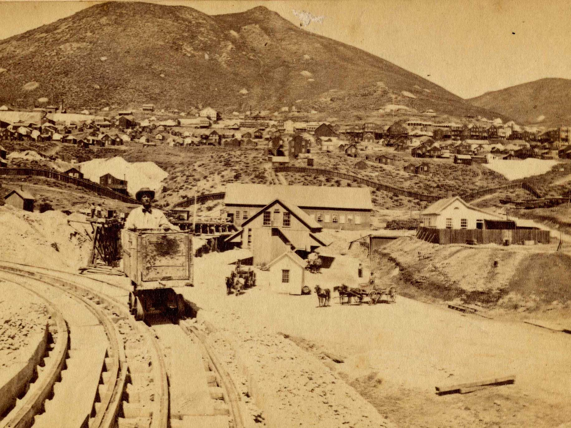 A mining scene in Virginia City, Nev.