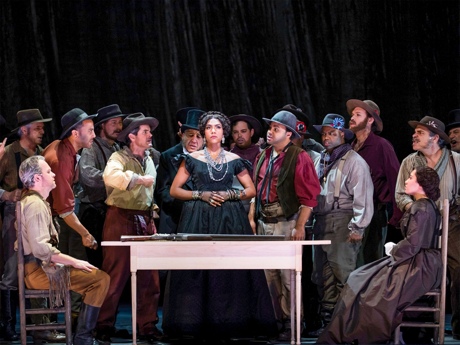 "A scene from Adams' 2017 opera, ""Girls of the Golden West."""