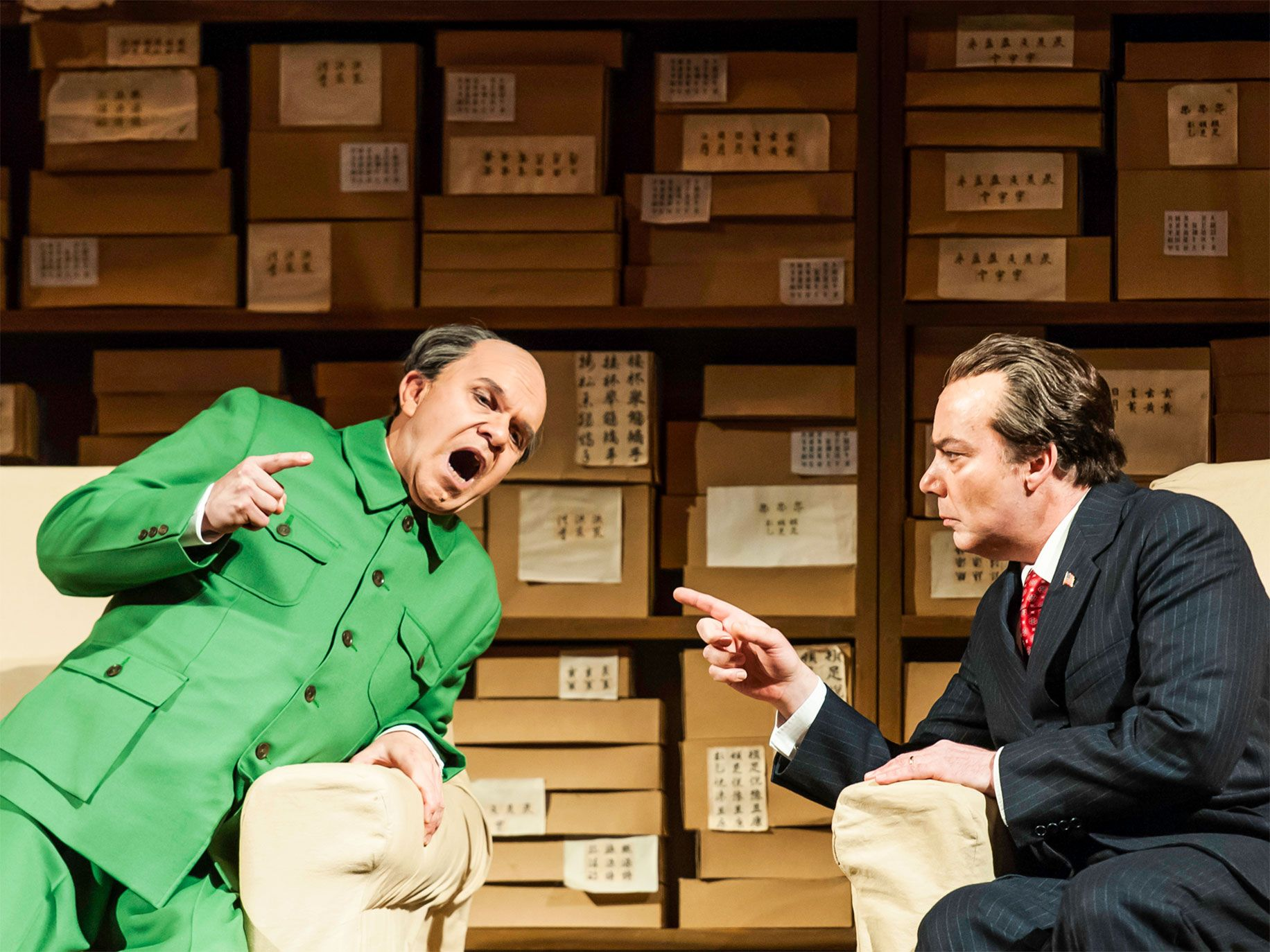 "American tenor Robert Brubaker (as Mao Tse-tung) (left) and baritone James Maddalena (as Richard Nixon) perform in a revival of Adams' ""Nixon in China"" in New York in 2011."