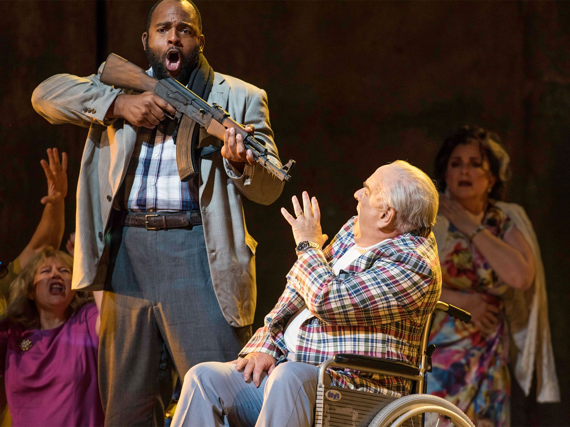 "American bass-baritone Ryan Speedo Green (as Rambo, a hijacker) and English baritone Alan Opie (as Leon Klinghoffer) perform in Adams' ""The Death of Klinghoffer"" at the Metropolitan Opera in New York in 2014."