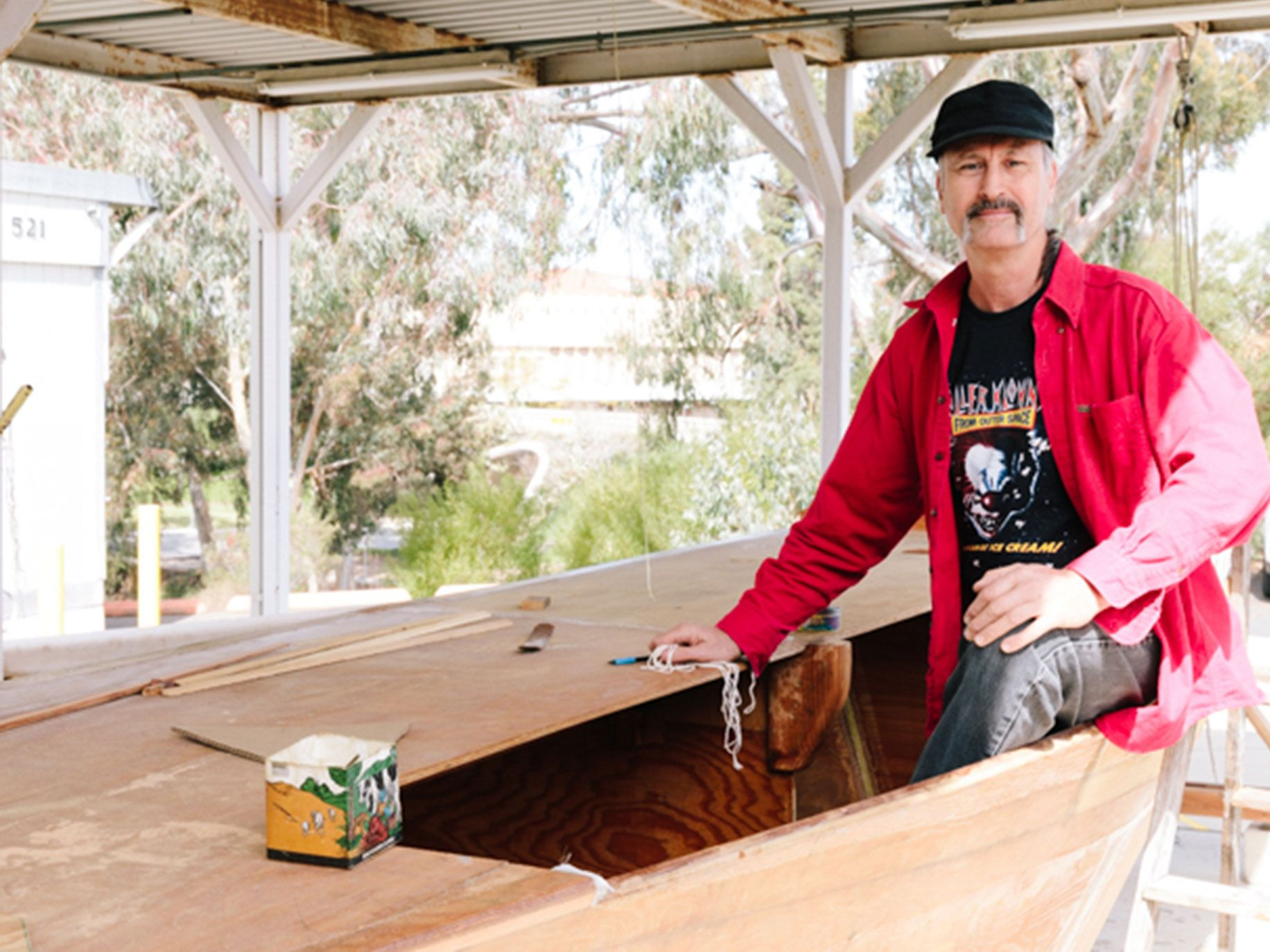 UC Irvine professor Simon Penny is building a replica of a proa, a Micronesian outrigger boat, to demonstrate the sophistication of Micronesian boatbuilding and seafaring.