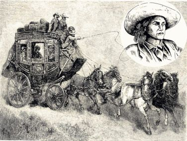 Inset: An artist's rendering of stagecoach driver Charley Parkhurst.