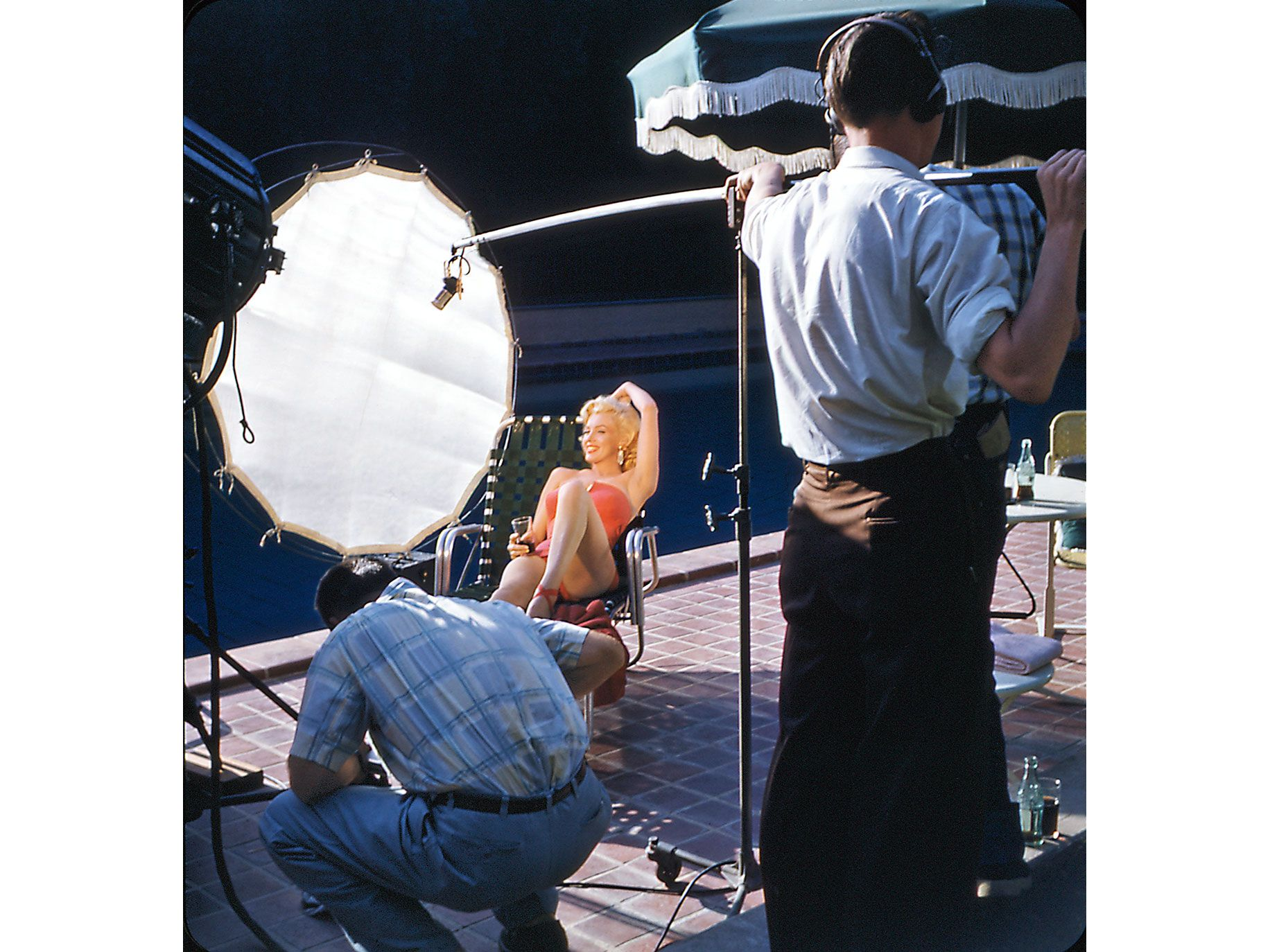 Marilyn Monroe being filmed at Harold Lloyd's Greenacres estate in 1953.
