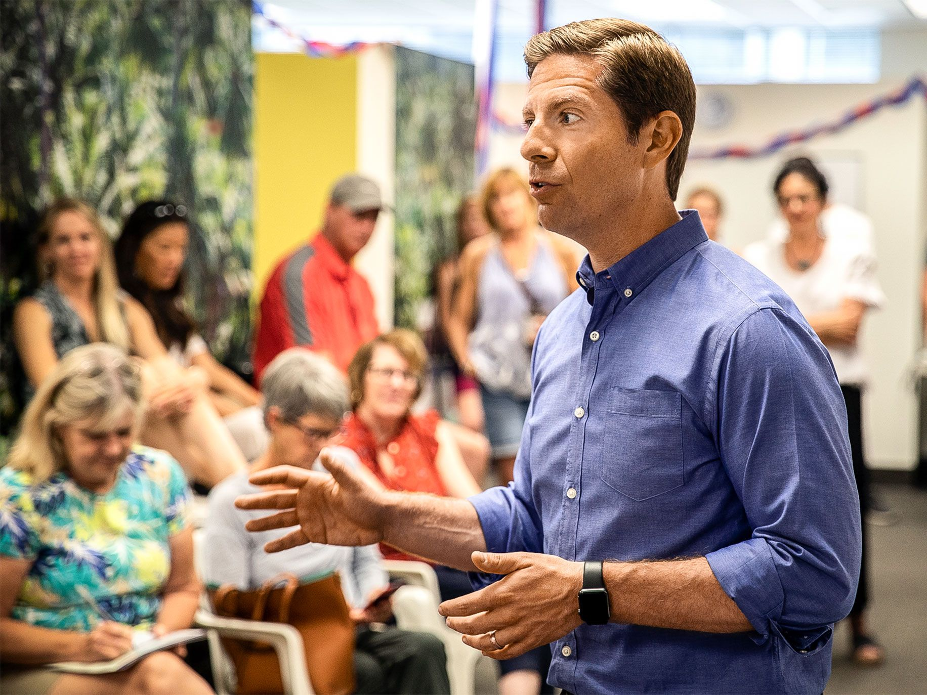 Democratic candidate Mike Levin at a campaign event. Levin is running for California's 49th Congressional District seat and facing an increasingly diverse — and more Democrat-friendly — electorate.