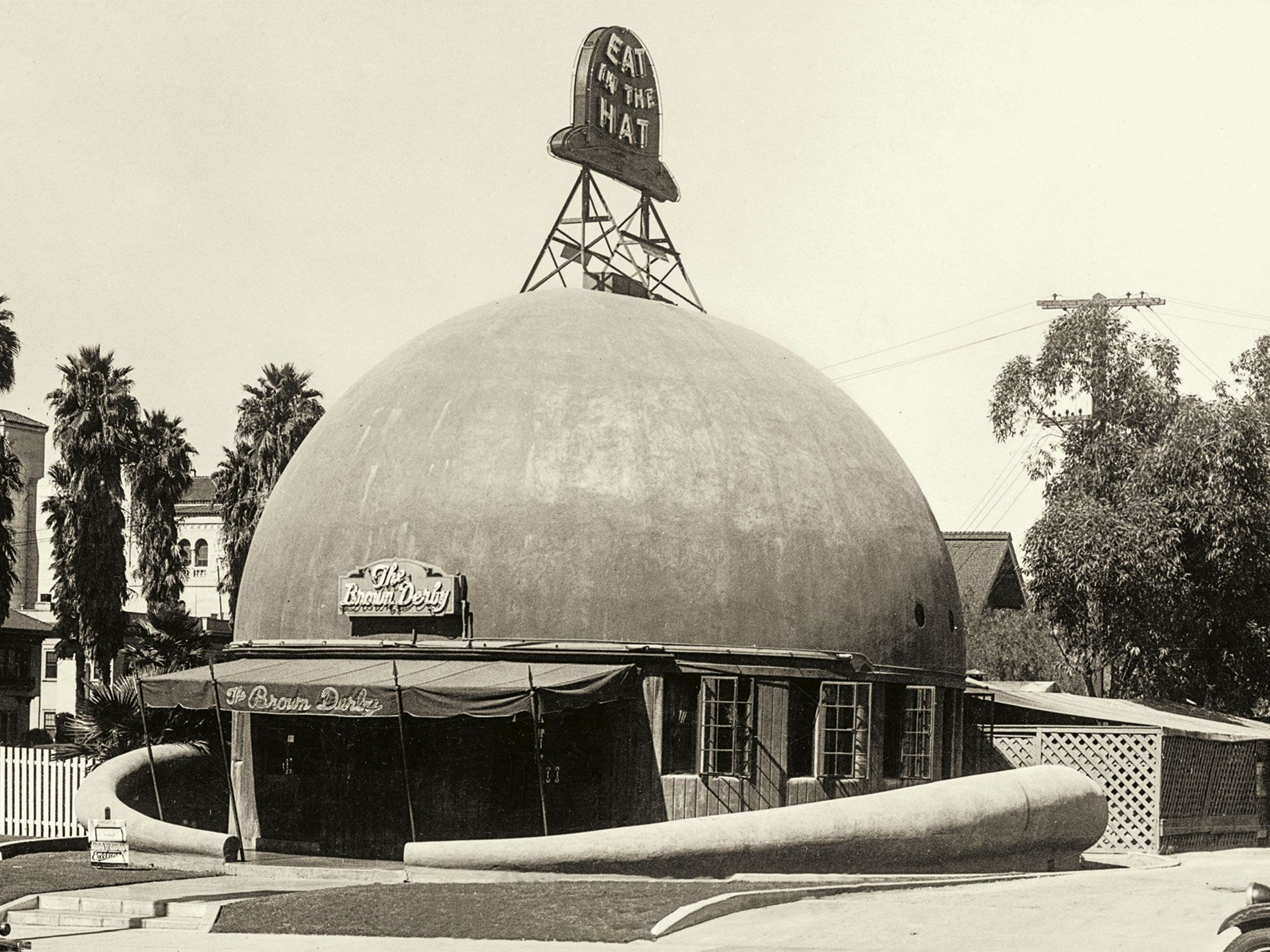 """""""California Crazy"""" chronicles the history of some of the state's more unusual structures, including The Brown Derby in Los Angeles (circa 1930)."""