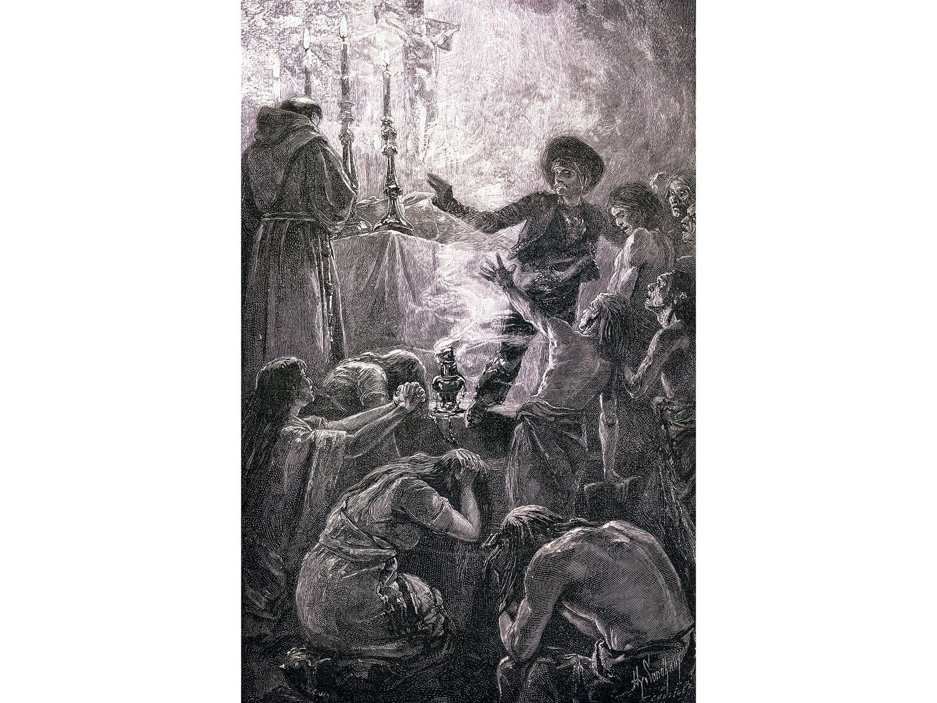 A fanciful illustration of Junipero Serra's funeral in Carmel-by-the-Sea from a 19th century magazine, The Century Illustrated Monthly. Serra died in 1784 and was buried in Carmel.
