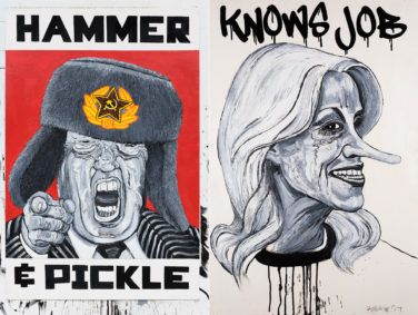 """Portraits of Donald Trump and Kellyanne Conway from the exhibit """"Cabinet of Horrors"""" by artist Robbie Conal."""
