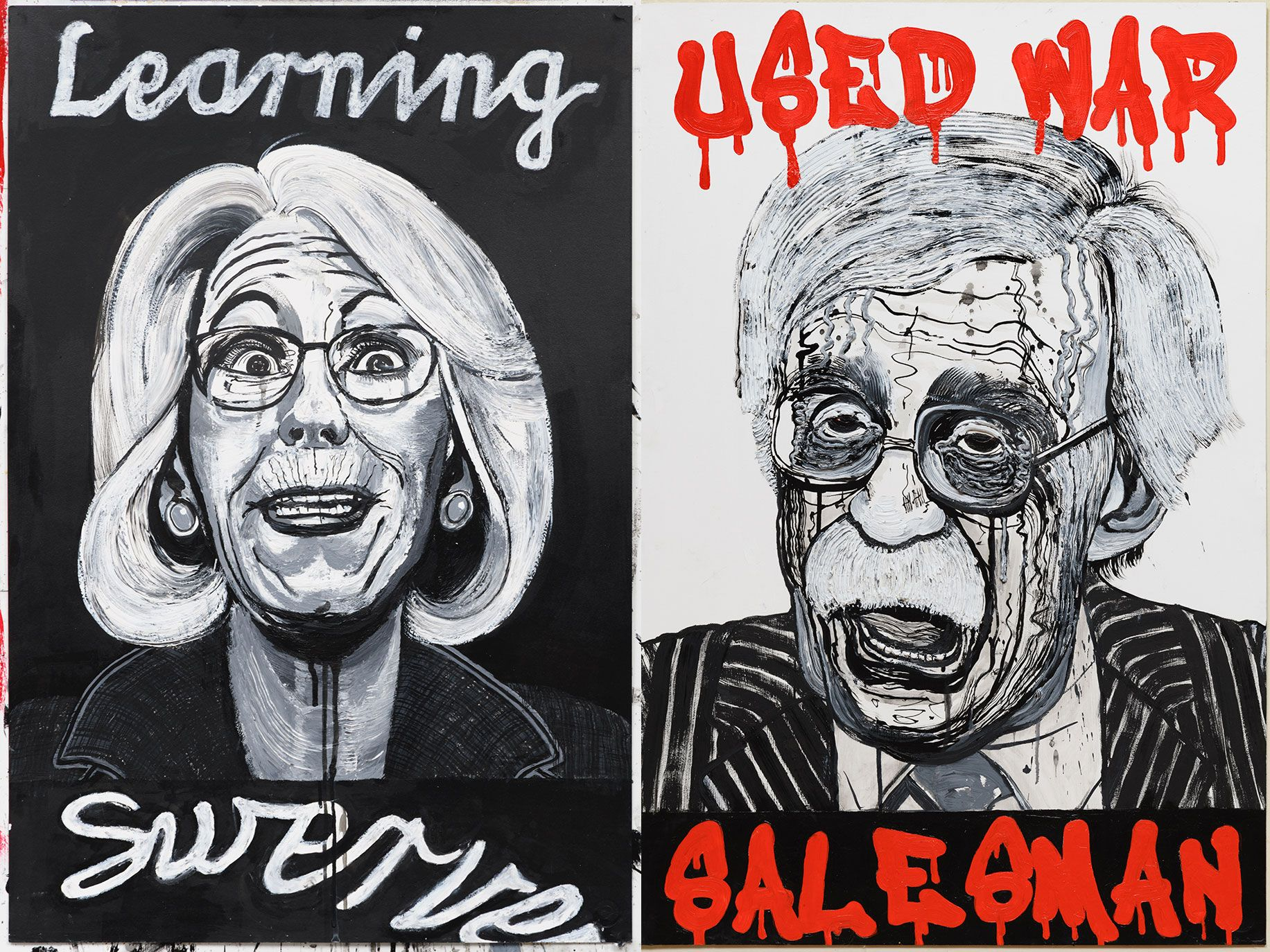 "Portraits of Betsy-DeVos and John Bolton from the exhibit ""Men With No Lips"" by artist Robbie Conal."