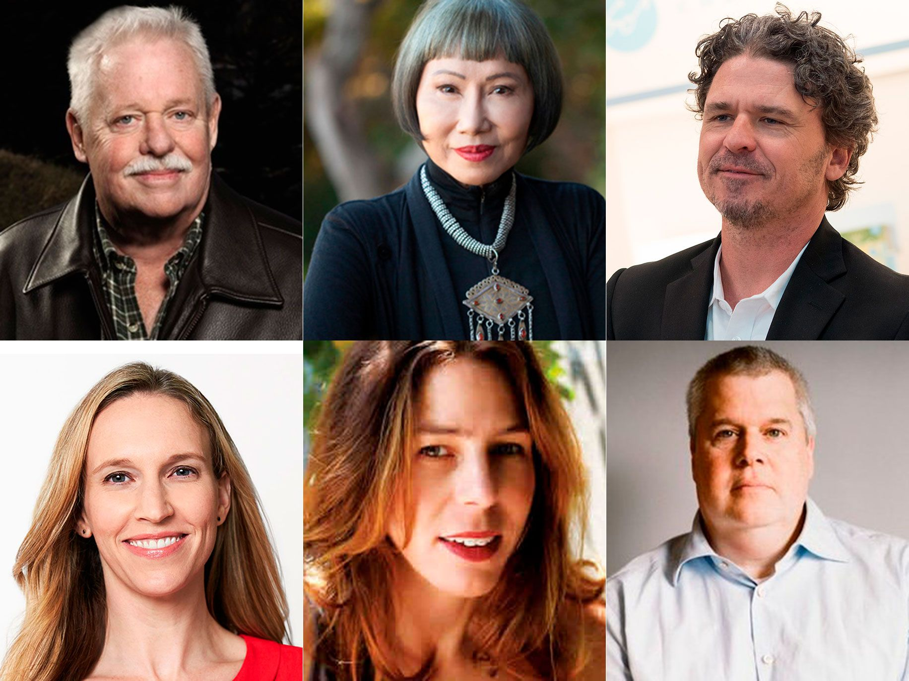 Clockwise from top left: Armistead Maupin, Amy Tan, Dave Eggers, Daniel Handler, Rachel Kushner and Jessica Powell.