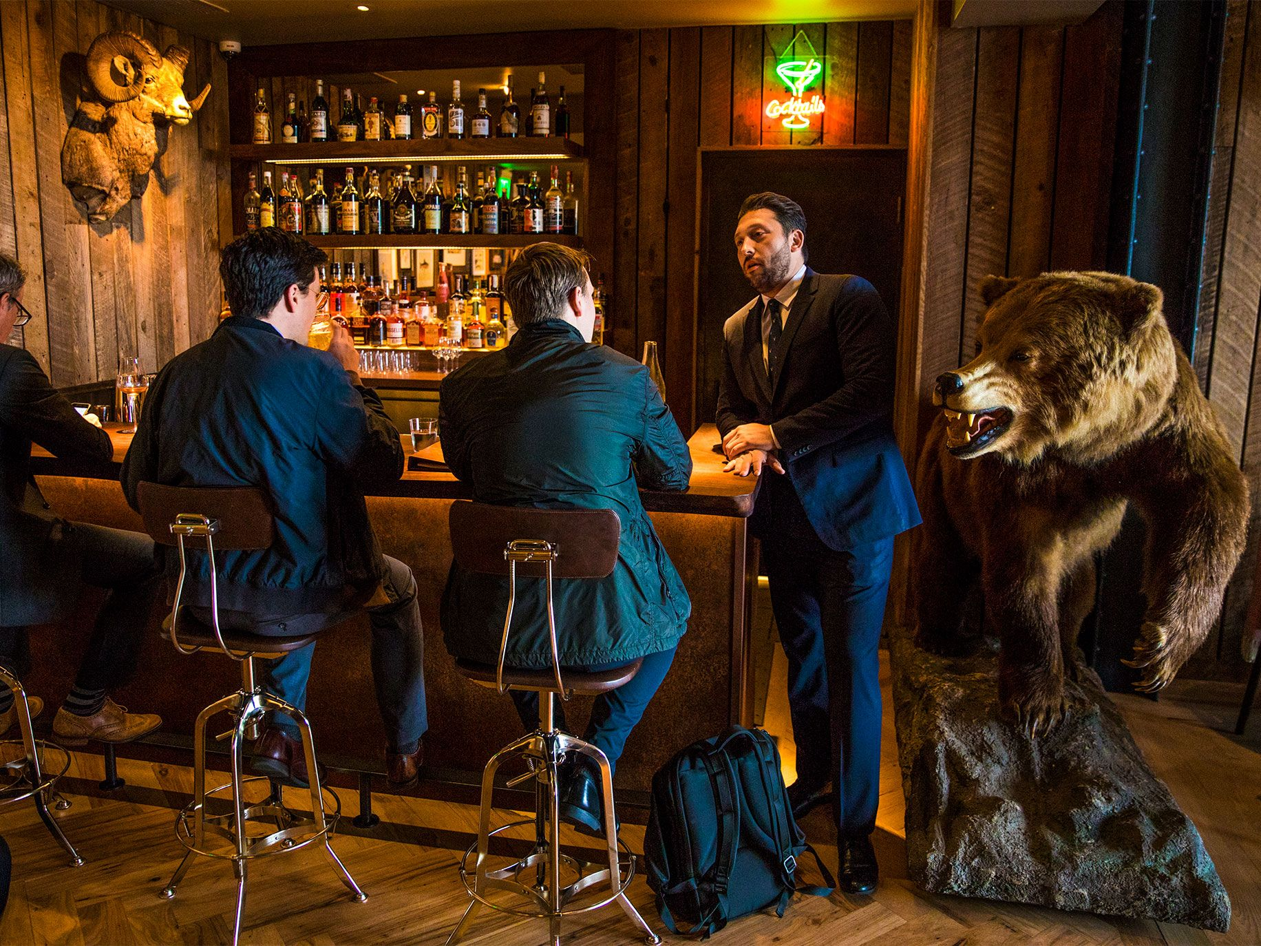 Angler boasts two bars, one in the main dining area and the other in an adjoining space, where animal heads on the walls make it look like a hunter's trophy room.