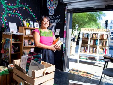 Sarah Rafael Garcia's LibroMobile bookstore has evolved from its original home on a planter cart into a location in a storage unit in downtown Santa Ana. The store specializes in Spanish-language and Latin American literature and history books.