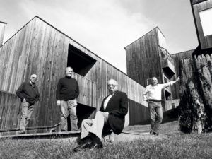 Pictured in the courtyard of Condominium One in 1991 are MLTW architects who designed the early phase of The Sea Ranch (left to right), Richard Whitaker, Donlyn Lyndon, Charles Moore, and William Turnbull. Moore made Condominium One his home.