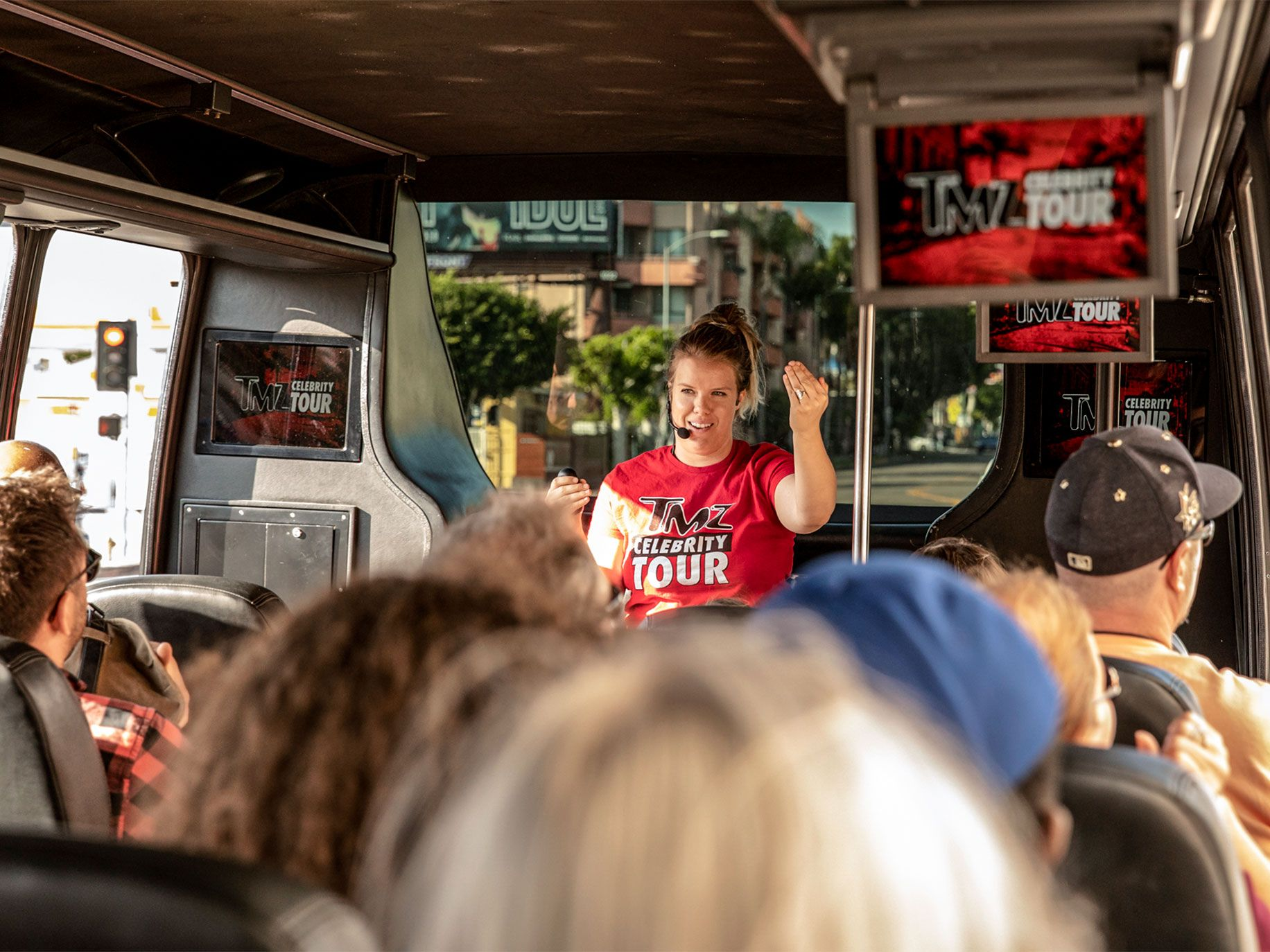 TMZ's tour guide Brittney tells tourists tales of scandals involving celebrities like Michael Jackson, Paris Hilton and the Kardashians. TMZ's tours of Hollywood landmarks are the latest twist on a Tinseltown tradition.