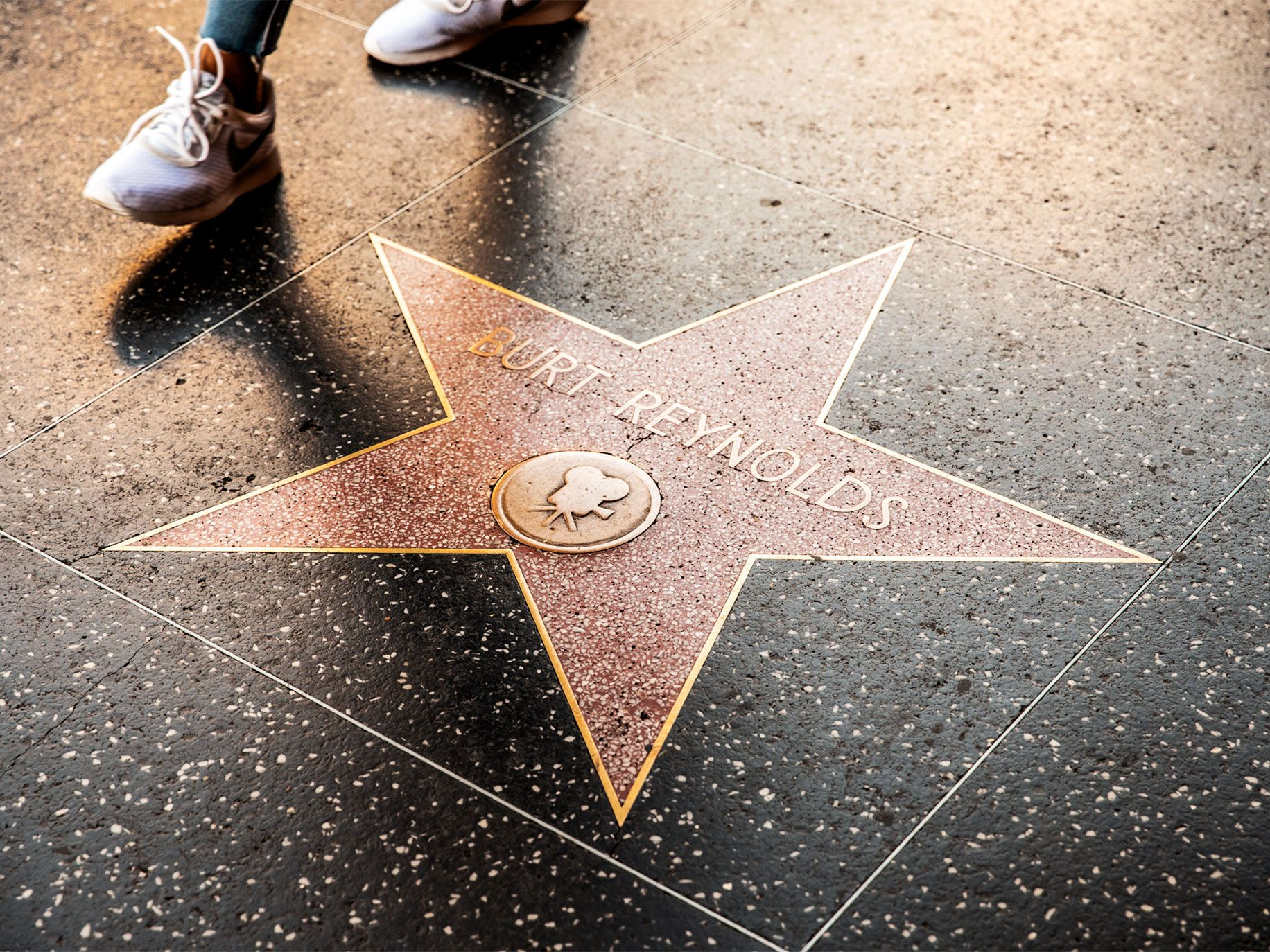 Burt Reynolds' star on the Hollywood Walk of Fame, near the starting point for the TMZ bus tour.