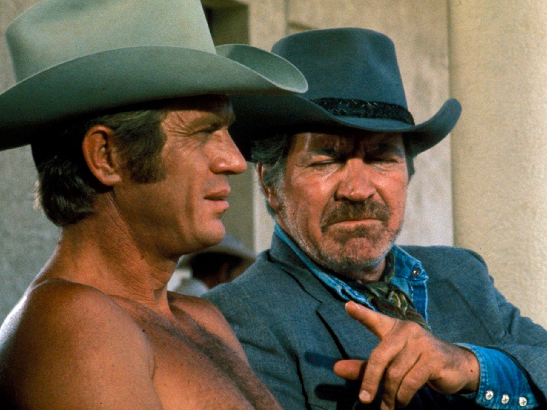 """Steve McQueen, left, and Robert Preston in """"Junior Bonner."""""""