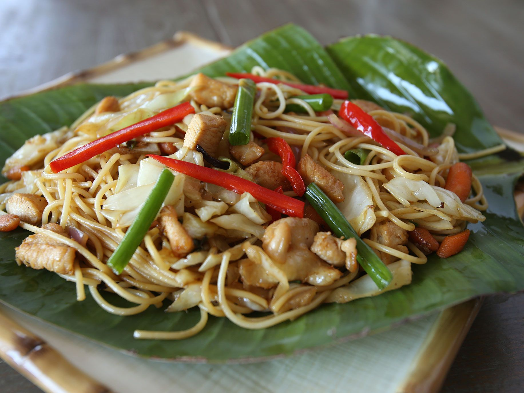 """Pancit noodles from """"""""First We Surf, Then We Eat: Recipes From a Lifetime of Surf Travel."""""""
