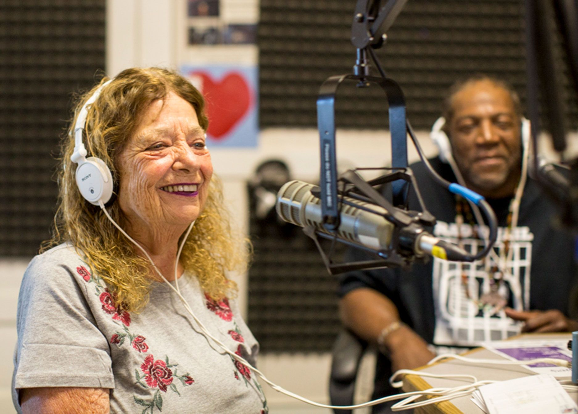 """Radio Jail"" host host Eugenie Steinman on the air with Randall Cole."