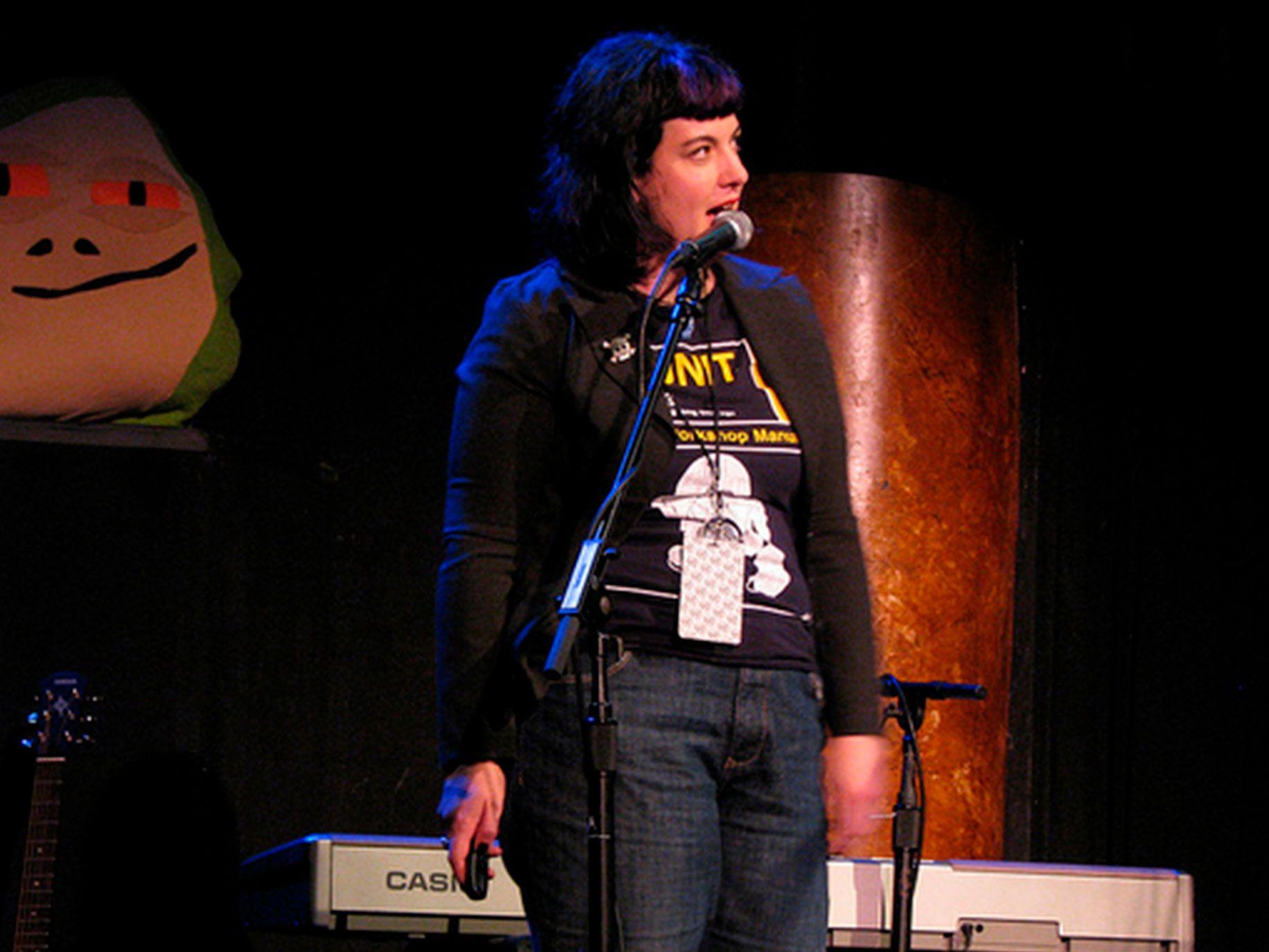 Bonnie Burton talks about making bizarre Star Wars crafts on stage at w00tstock San Francisco in 2010.