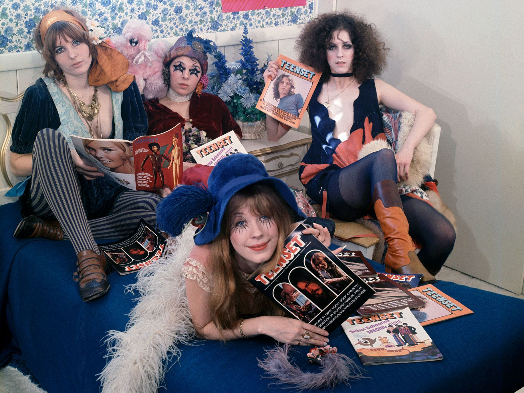 Pop group The GTOs (Girls Together Outrageously) pose for a Teenset magazine cover photo in 1969. Clockwise from top left: Miss Cynderella, Miss Sandra, Miss Christine and Miss Pamela.