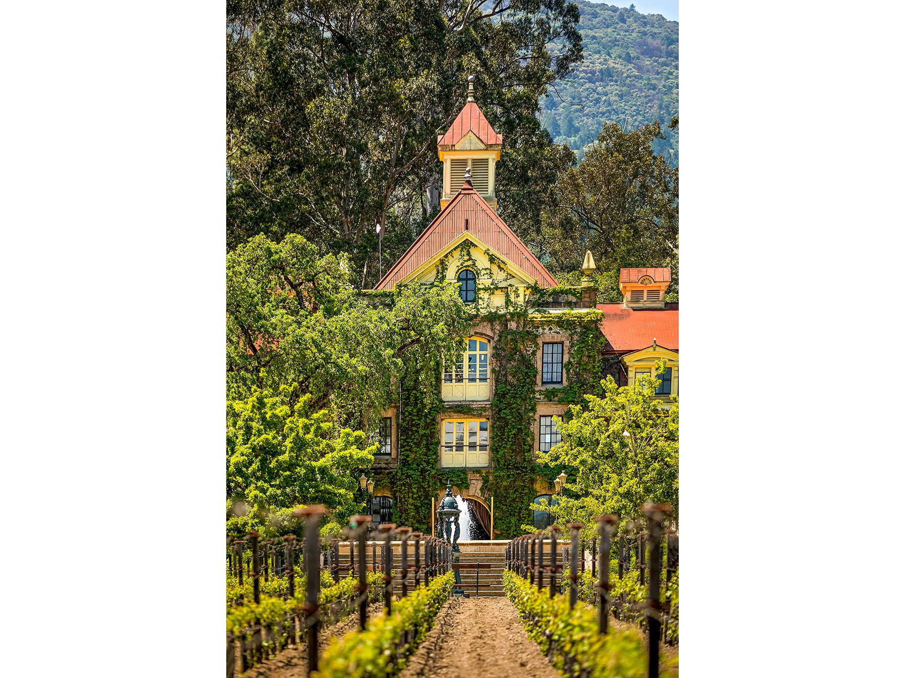 """The Inglenook Chateau, built by founder Gustave Niebaum and restored by Francis Ford Coppola, is symbolic of Coppola's efforts to return Inglenook to winemaking prominence. The chateau includes a small museum celebrating Coppola's movies like """"The Godfather"""" trilogy and """"Apocalypse Now."""""""